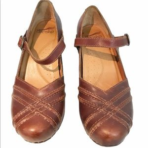 Dansko Reeny Mary Jane Clogs Strap Leather Shoes